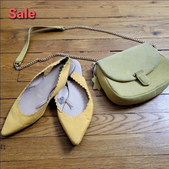 H&M Yellow Leather Bag and Ballet Flat Shoes